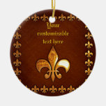 Old Leather Cover with golden Fleur-de-Lys - Double-Sided Ceramic Round Christmas Ornament