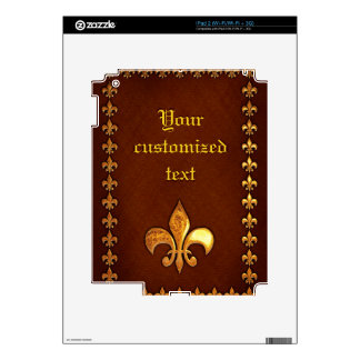 Old Leather Cover with golden Fleur-de-Lys - iPad 2 Skins
