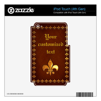 Old Leather Cover with golden Fleur-de-Lys - iPod Touch 4G Decal