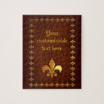 """Old Leather Cover with golden Fleur-de-Lys - Jigsaw Puzzle<br><div class=""""desc"""">Here&#39;s a design that looks like an old antique  leather book cover,  embossed with a border of metallic golden Fleur-de-Lys and a larger Fleur-de-Lys (a French Lily) at the bottom center.   The embossed golden text in the design can be personalized by using the text box!</div>"""
