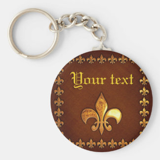Old Leather Cover with golden Fleur-de-Lys - Keychain