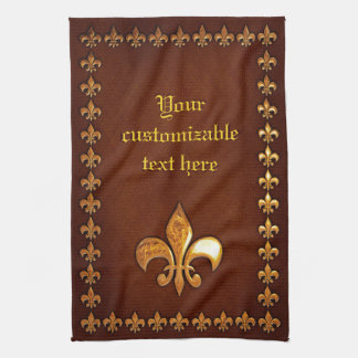 Old Leather Cover with golden Fleur-de-Lys - Kitchen Towel