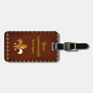 Old Leather Cover with golden Fleur-de-Lys - Luggage Tag