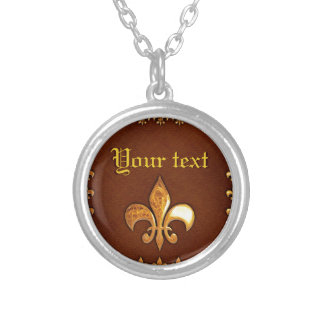 Old Leather Cover with golden Fleur-de-Lys - Round Pendant Necklace
