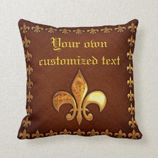 Old Leather Cover with golden Fleur-de-Lys - Pillow