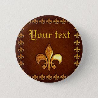 Old Leather Cover with golden Fleur-de-Lys - Pinback Button