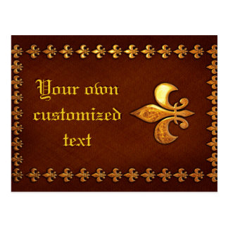 Old Leather Cover with golden Fleur-de-Lys - Postcard