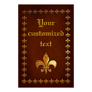 Old Leather Cover with golden Fleur-de-Lys - Print