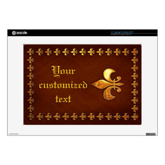 Old Leather Cover with golden Fleur-de-Lys - Skins For Laptops