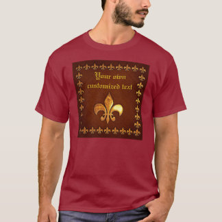 Old Leather Cover with golden Fleur-de-Lys - T-Shirt