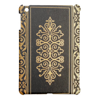 Old Leather Gilded Book Cover Black and Gold Cover For The iPad Mini