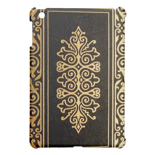 Book Cover Black And Gold ~ Old leather gilded book cover black and gold ipad mini