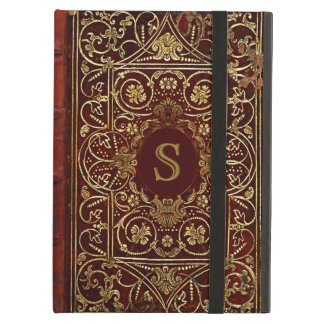 Old Leather Gilded Book Cover Monogram iPad Air Case