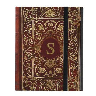 Old Leather Gilded Book Cover Monogram iPad Cases