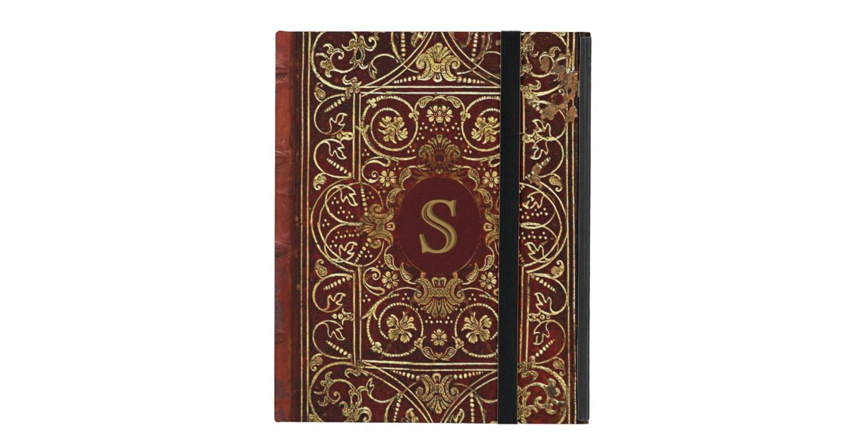 Old Book Cover Ipad : Old leather gilded book cover monogram ipad cases zazzle