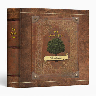 Old Leather Look Family Tree Genealogy Binder at Zazzle