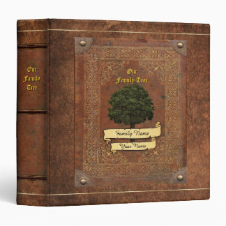 Old Leather Look Family Tree w. Individual Name 1 Binder