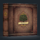 """Old Leather Look Family Tree w. Individual Name 2 Binder<br><div class=""""desc"""">Insert family name on the banner and individual name below (or vice versa)</div>"""