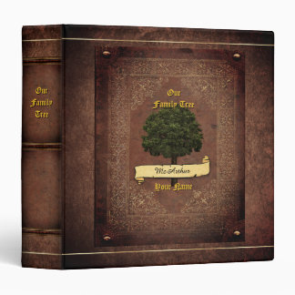Old Leather Look Family Tree w. Individual Name 2 Binder
