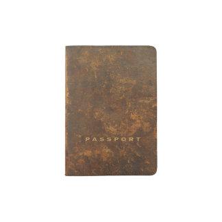 Old leather passport holder