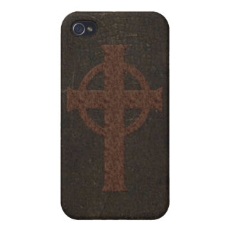Old Leather Print Cross Cover For iPhone 4
