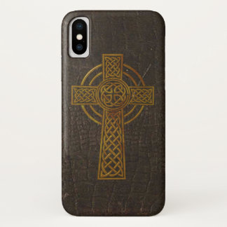 Old Leather Print Cross iPhone X Case