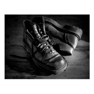 Old leather shoes postcard