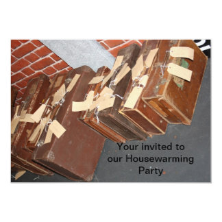 Old Leather Suitcases with Tags Housewarming 5x7 Paper Invitation Card