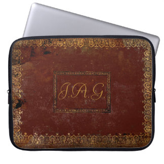 Old Leather Victorian Style Book Cover Laptop Computer Sleeves