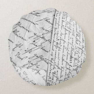 Old Letters Round Pillow