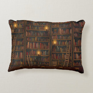 Old Library Reading Room Decorative Pillow