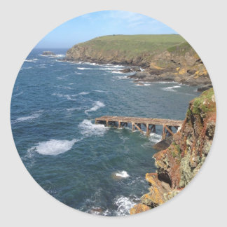 Old Lifeboat Ramp, Lizard Peninsula, Cornwall Round Stickers