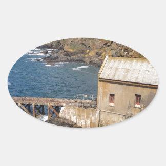 Old Lifeboat Station, Lizard Peninsula, Cornwall Oval Sticker
