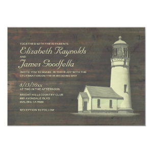 Old Lighthouse Wedding Invitations 5
