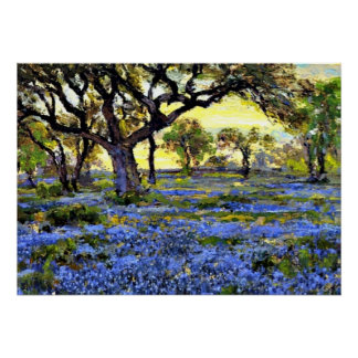 Old Live Oak Tree and Bluebonnets - Onderdonk art Poster