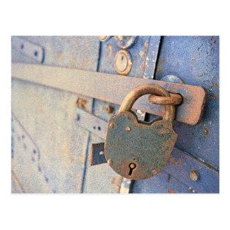 Old Lock, Blue Door Postcard