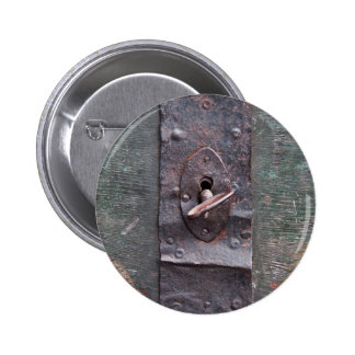 Old lock with key pinback buttons