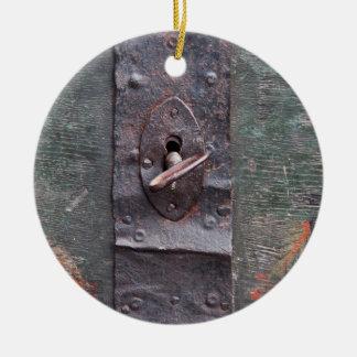 Old lock with key ceramic ornament
