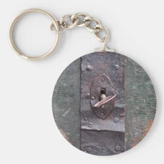 Old lock with key keychain