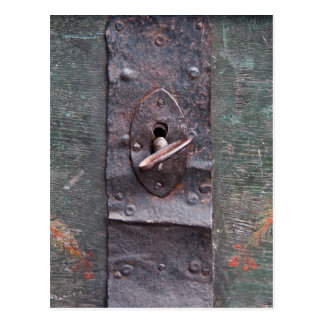 Old lock with key postcard