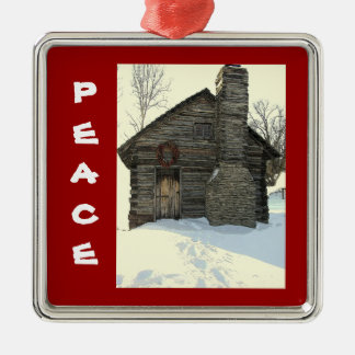 """OLD LOG CABIN IN SNOW"" CHRISTMAS ORNAMENT"