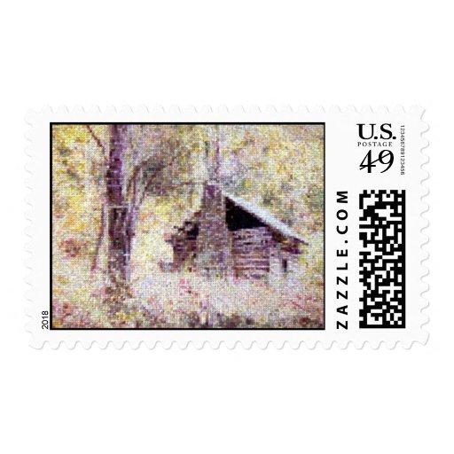 Old Log Cabin Stamp