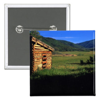 Old log homestead near Park City, Utah. (P.R.) 2 Inch Square Button