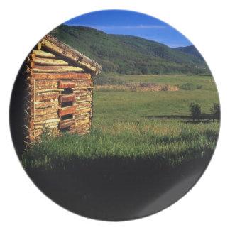 Old log homestead near Park City, Utah. (P.R.) Melamine Plate