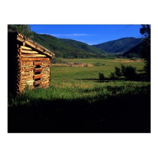 Old log homestead near Park City, Utah. (P.R.) Post Card