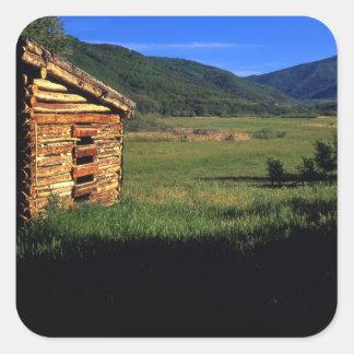 Old log homestead near Park City, Utah. (P.R.) Square Sticker