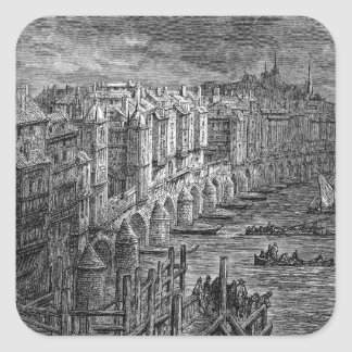 Old London Bridge 1694 Square Stickers