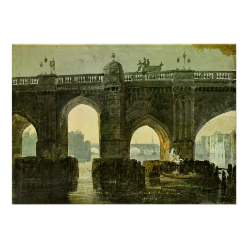 Old London Brige by Joseph Mallord William Turner Print