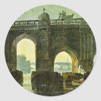 Old London Brige By Turner Joseph Mallord William Round Stickers
