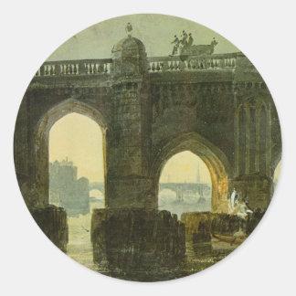 Old London Brige by William Turner Classic Round Sticker